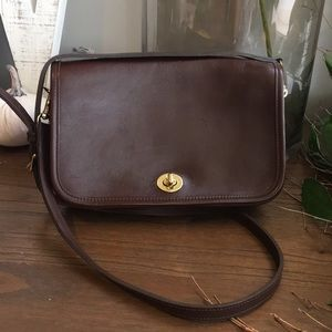 Coach Vintage Brown Leather Crossbody Penny Bag